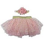 Toby™ 2-Piece Starry Rose Tutu and Coral Headband Set