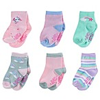 Capelli New York Size 3-12M 6-Pack Unicorn and Rainbow Socks in Pink/Green