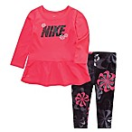 Nike® Dri-FIT Size 18M 2-Piece Swoosh Tunic Top and Legging Set in Black