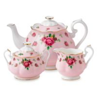 Royal Albert 3-Piece Tea Set in New Country Roses Pink