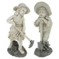 Young Gardeners 21.5-Inch Rebecca and Samuel Sculptures