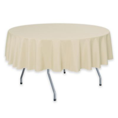 Solid Linen 60 Inch Round Tablecloth In Beige