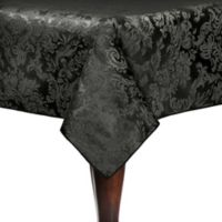Miranda Damask 60-Inch x 108-Inch Oblong Tablecloth in Black