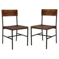 Carolina Forge Wood/metal Elmsley Dining Chairs in Chestnut/black (Set of 2)