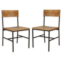 Carolina Forge Wood/metal Elmsley Dining Chairs in Natural/black (Set of 2)