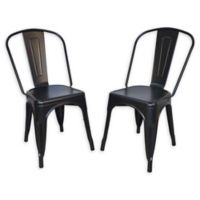 Carolina Forge Metal Adeline Dining Chairs in Black (Set of 2)