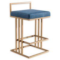 Tov Furniture™ Velvet Trevi 31-Inch Bar Stool in Blue