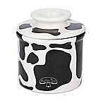 Cow Butter Bell Crock in Black/White<br />