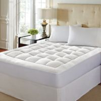 High-Loft Memory Foam Queen Mattress Pad in White