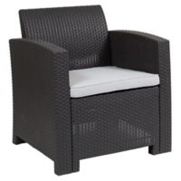 Flash Furniture Faux-Rattan Patio Chair in Dark Grey