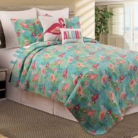 Isla Tropics Reversible Full/Queen Quilt Set in Green
