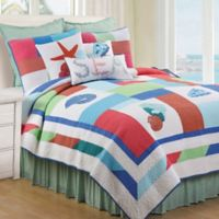 Antigua Bay Reversible Full/Queen Quilt in Coral