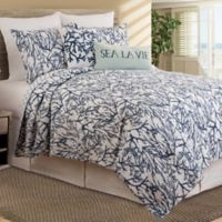 Oceanaire Coral Reversible Full/Queen Quilt in Indigo