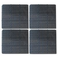 Buffalo 36-Inch x 36-Inch Interlocking Anti-Fatigue Rubber Floor Mats in Black (Set of 4)
