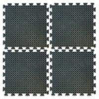 Buffalo 19.7-Inch x 19.7-Inch Interlocking Rubber Drain Floor Mats in Black (Set of 4)