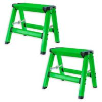 AmeriHome Aluminum Step Stools in Green (Set of 2)