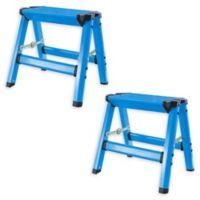 AmeriHome Aluminum Step Stools in Blue (Set of 2)