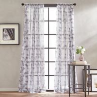 Peri Home Kelly Floral Sheer 63-Inch Rod Pocket Window Curtain Panel in Amethyst