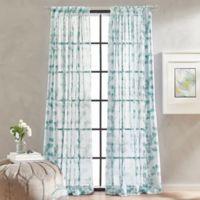 Peri Home Kelly Floral Sheer 63-Inch Rod Pocket Window Curtain Panel in Aqua