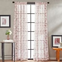 Peri Home Kelly Floral Sheer 84-Inch Rod Pocket Window Curtain Panel in Blush