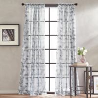 Peri Home Kelly Floral Sheer 84-Inch Rod Pocket Window Curtain Panel in Grey