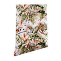 Deny Designs Marta Barragan Camarasa Exotic Birds 2-Foot x 8-Foot Peel and Stick Wallpaper in Green