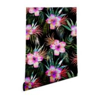 Deny Designs Schatzi Brown Honolua Tropical 2-Foot x 8-Foot Peel and Stick Wallpaper in Black
