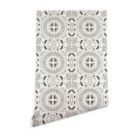 Deny Designs Holli Zollinger Mandala Tile Light 2-Foot x 8-Foot Wallpaper in Black