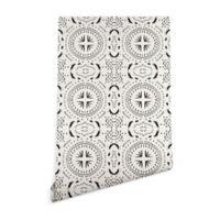 Deny Designs Holli Zollinger Mandala Tile Light 2-Foot x 10-Foot Wallpaper in Black