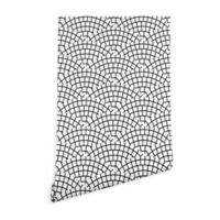Deny Designs Holli Zollinger Mosaic Scallop Light 2-Foot x 10-Foot Wallpaper in Black