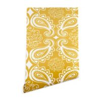 Deny Designs Heather Dutton Plush Paisley 2-Foot x 8-Foot Wallpaper in Goldenrod
