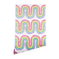 Deny Designs Schatzi Brown Rainbow Wave 2-Foot x 4-Foot Peel and Stick Wallpaper