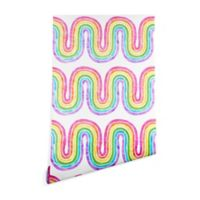 Deny Designs Schatzi Brown Rainbow Wave 2-Foot x 8-Foot Peel and Stick Wallpaper