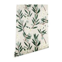 Deny Designs Holli Zollinger Olive Bloom 2-Foot x 10-Foot Peel and Stick Wallpaper in White/Green