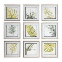Uttermost Verdant Impressions 18-Inch Square Framed Leaf Prints (Set of 9)