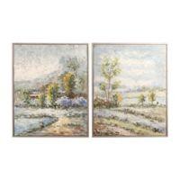 Uttermost Wayward Rivers 2-Piece 17-Inch x 21-Inch Framed Canvas Wall Art Set