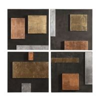 Uttermost Mixed Metals 18-Inch Square Framed Wall Art (Set of 4)
