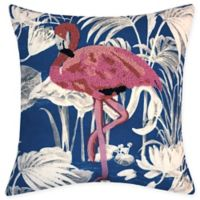 Destination Summer Beaded Flamingo Square Indoor/Outdoor Square Throw Pillow in Blue