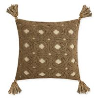 Destination Summer Neutral Jacquard Square Indoor/Outdoor Throw Pillow