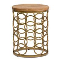 Simpli Home Sadie Wood & Metal Accent Table in Natural/Gold