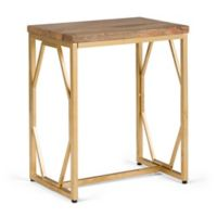 Simpli Home Selma Wood and Metal Accent Table in Natural/Gold