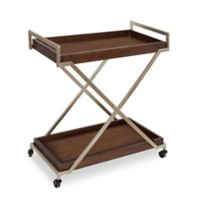 Kate and Laurel Parmer Kitchen Trolley in Walnut/Champagne