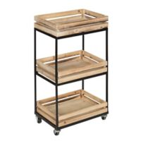 Kate and Laurel Usman 3-Tiered Storage Cart in Black