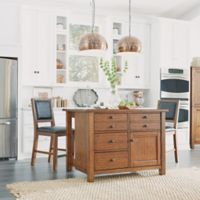 Home Styles Tahoe Kitchen Island with 2 Stools in Aged Maple