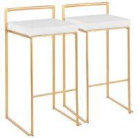Lumisource® Velvet Upholstered Bar Stools in White/Gold (Set of 2)