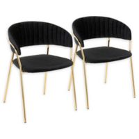 Lumisource® Velvet Upholstered Tania Chairs in Black (Set of 2)