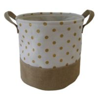 Bee & Coco Round Storage Bin in Ivory with Gold Metallic Polka Dots