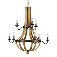 Bel Air Lighting Woodland 9-Light Chandalier in Weathered Bronze