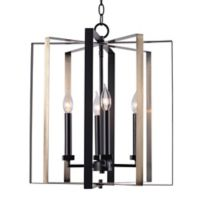 Kenroy Home Mario 4-Light Pendant in Matte Black/Antique Brass
