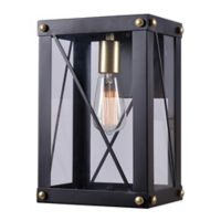 Kenroy Home Courtney Large Wall Lantern in Black/Gold